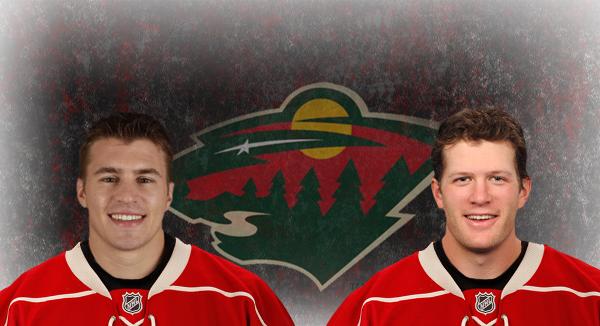 Zach Parise and Ryan Suter in their new Minnesota jerseys